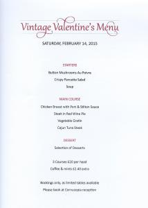 Valentine menu 214x300 Just a few tables left for our Vintage Valentines meal!