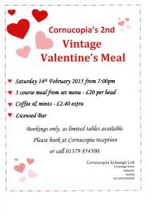 Valentines Meal 212x300 Just a few tables left for our Vintage Valentines meal!