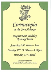 Scan0001 216x300 August Bank Holiday opening times at Cornucopia