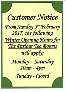 Winter opening times 216x300 Winter Opening Hours for The Parlour Tea Rooms