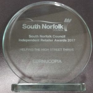 Retailer Awards 2 300x300 Cornucopia are winners at the South Norfolk Independent Retailer Awards 2017!