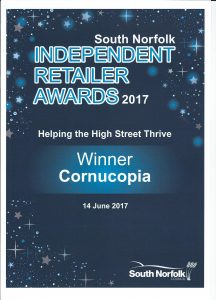 Retailer Awards 216x300 Cornucopia are winners at the South Norfolk Independent Retailer Awards 2017!