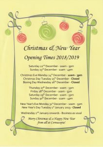 Christmas opening times 2018 212x300 Christmas & New Year opening times at Cornucopia!